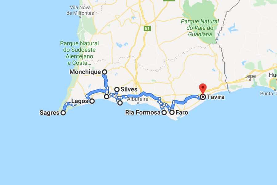 roadtrip Algarve kaart
